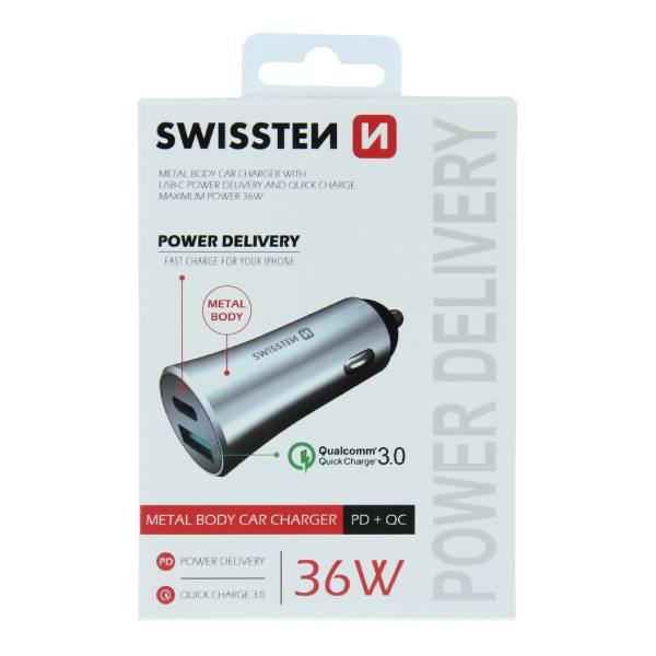 Swissten CL μετασχηματιστής ταχεία φόρτιση USB-C + Γρήγορη Φόρτιση 3,0 36W Μεταλλικό Ασημί
