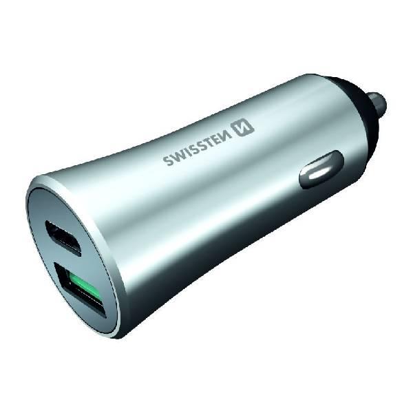 Swissten CL μετασχηματιστής ταχεία φόρτιση USB-C + Γρήγορη Φόρτιση 3,0 36W Μεταλλικό Ασημί2