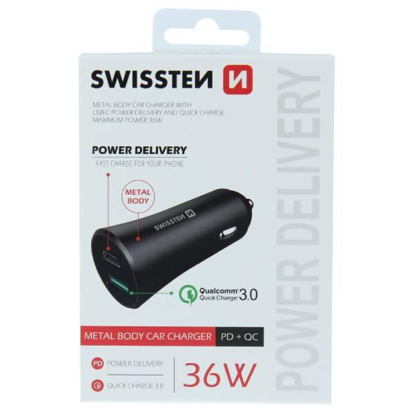 Swissten CL μετασχηματιστής ταχεία φόρτιση USB-C + Γρήγορη Φόρτιση 3,0 36W Μεταλλικό Μαύρο