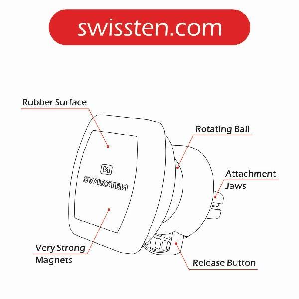 Swissten S-GRIP AV-M3 Μαγνητική βάση αυτοκινήτου-6