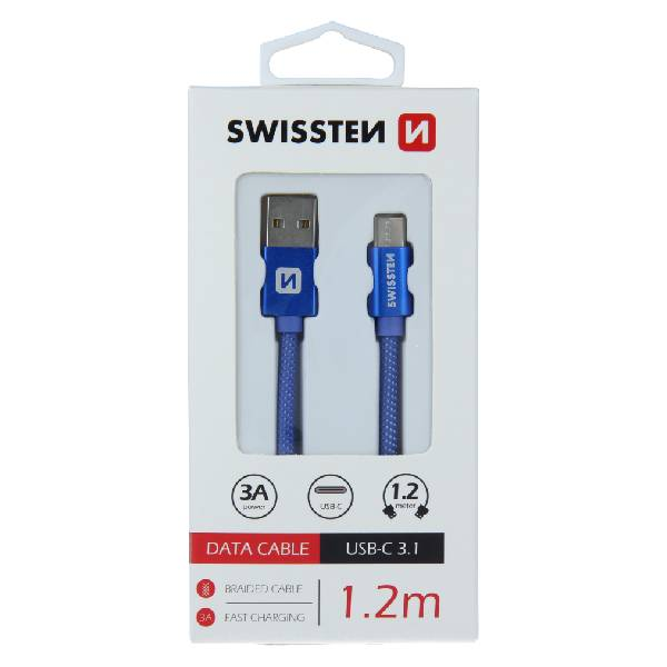 Swissten Καλώδιο Δεδομένων Textile USB USB-C 1.2m Μπλε