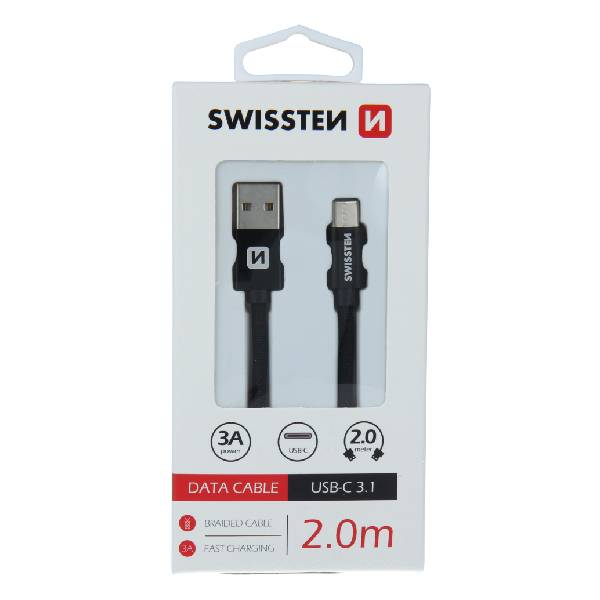 Swissten Καλώδιο Δεδομένων Textile USB / USB-C 2m Μαύρο