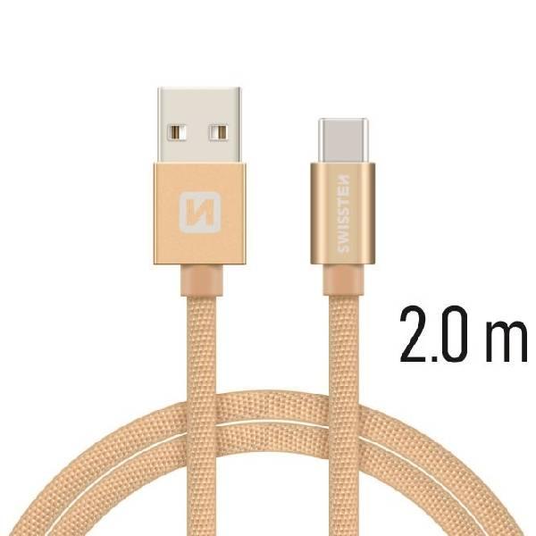 Swissten Καλώδιο Δεδομένων Textile USB / USB-C 2m Χρυσό