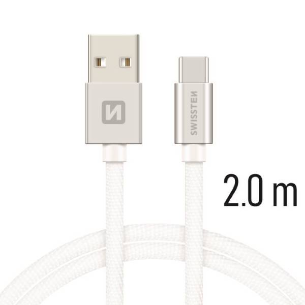 Swissten Καλώδιο Δεδομένων Textile USB / USB-C 2m Ασημί