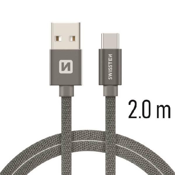 Swissten Καλώδιο Δεδομένων Textile USB.USB-C 2m Γκρι