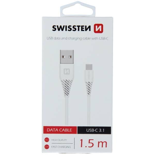 Swissten Καλώδιο Δεδομένων USB / USB-C 3.1 Λευκό 1.5m (7mm)