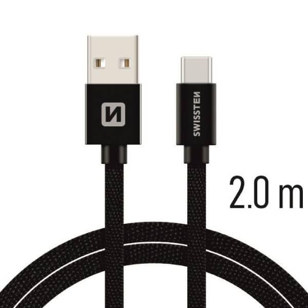 Swissten Καλώδιο Δεδομένων Textile USB / USB-C 2m Μαύρο-1