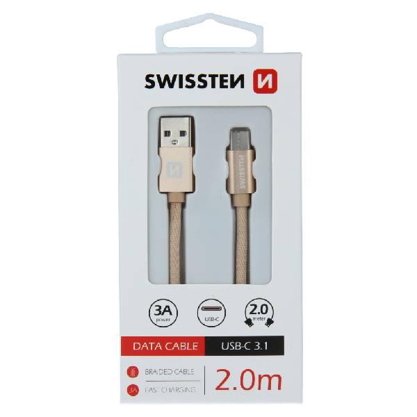 Swissten Καλώδιο Δεδομένων Textile USB / USB-C 2m Χρυσό-1