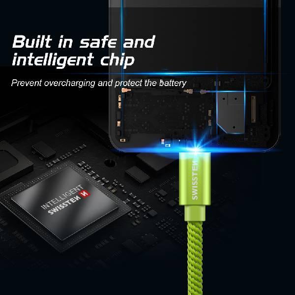 Swissten Καλώδιο Δεδομένων Textile USB. USB-C 2m Πράσινο-5