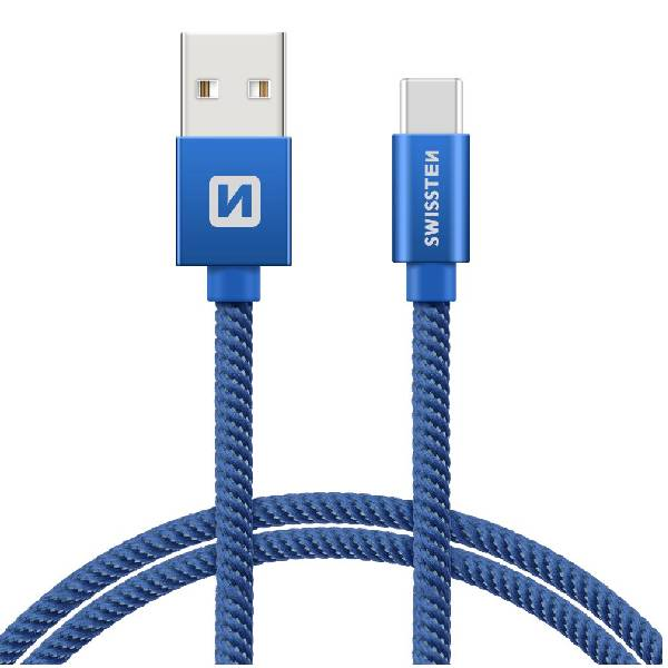 Swissten Καλώδιο Δεδομένων Textile USB USB-C 1.2m Μπλε-1