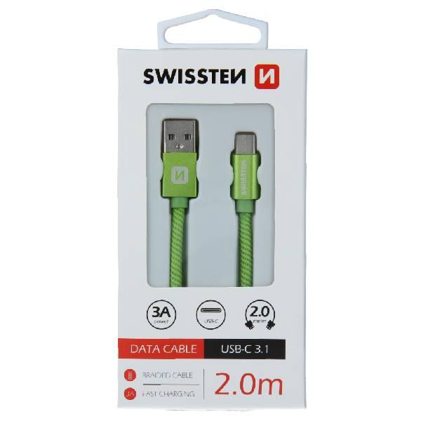 Swissten Καλώδιο Δεδομένων Textile USB. USB-C 2m Πράσινο