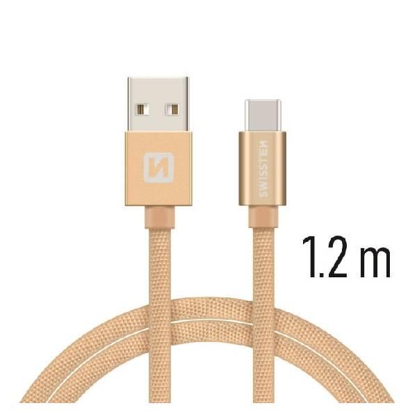 Swissten Καλώδιο Δεδομένων Textile USB .USB-C 1.2m Χρυσό-1