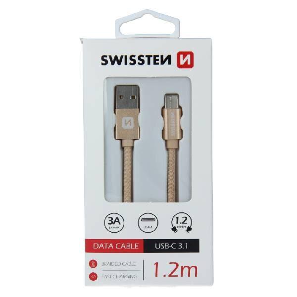Swissten Καλώδιο Δεδομένων Textile USB .USB-C 1.2m Χρυσό