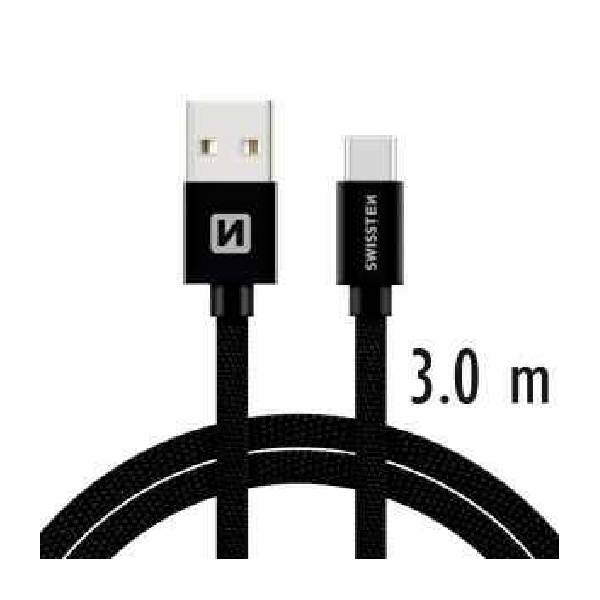 Swissten Καλώδιο Δεδομένων Textile USB .USB-C 3m Μαύρο.