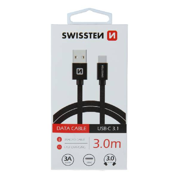 Swissten Καλώδιο Δεδομένων Textile USB .USB-C 3m Μαύρο