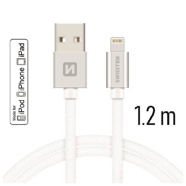 Swissten Καλώδιο Δεδομένων Textile USB -Lightning MFi 1.2m Ασημί.-1