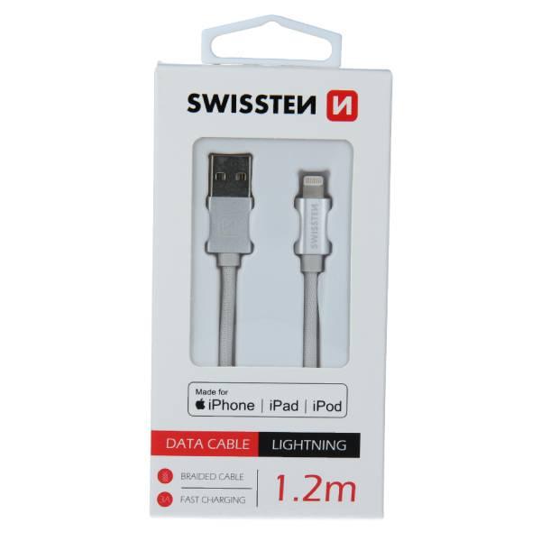 Swissten Καλώδιο Δεδομένων Textile USB -Lightning MFi 1.2m Ασημί