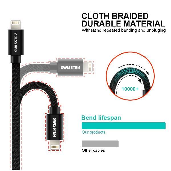 Swissten Καλώδιο Δεδομένων Textile USB- Lightning MFi 1.2m