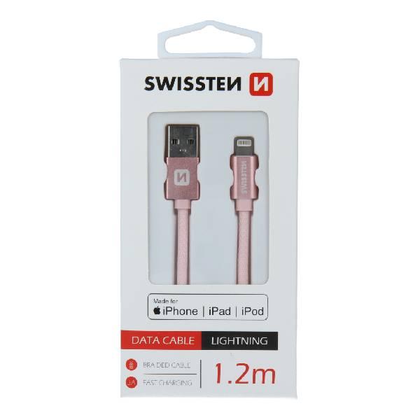 Swissten Καλώδιο Δεδομένων Textile USB - Lightning MFi 1.2m Ροζ Χρυσό