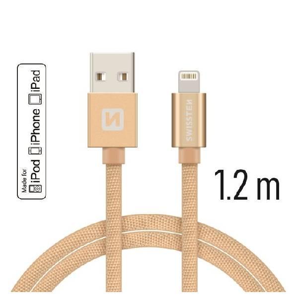 Swissten Καλώδιο Δεδομένων Textile USB -Lightning MFi 1.2m Χρυσό-1