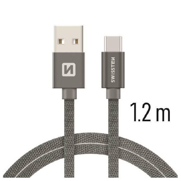 Swissten Καλώδιο Δεδομένων Textile USB USB-C 1.2m Γκρί-1