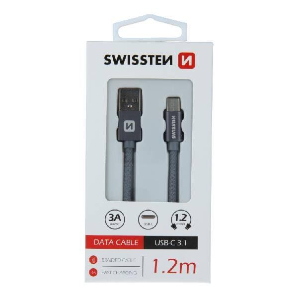 Swissten Καλώδιο Δεδομένων Textile USB USB-C 1.2m Γκρι