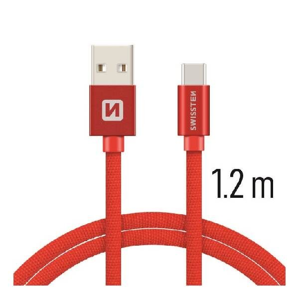 Swissten Καλώδιο Δεδομένων Textile USB USB-C 1.2m Κόκκινο-1