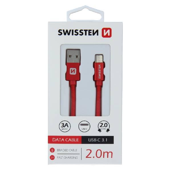 Swissten Καλώδιο Δεδομένων Textile USB / USB-C 2m Κόκκινο
