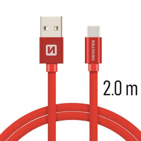 Swissten Καλώδιο Δεδομένων Textile USB + USB-C 2m Κόκκινο