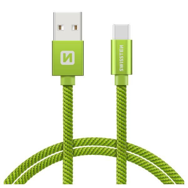 Swissten Καλώδιο Δεδομένων Textile USB. USB-C 1.2m Πράσινο-1
