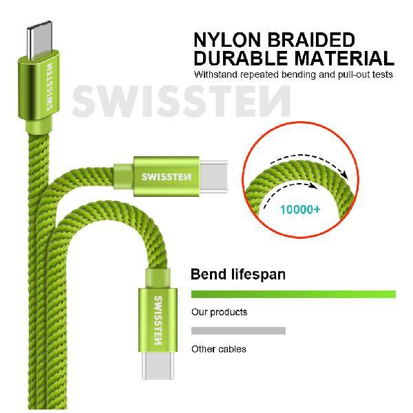 Swissten Καλώδιο Δεδομένων Textile USB. USB-C 1.2m Πράσινο-2