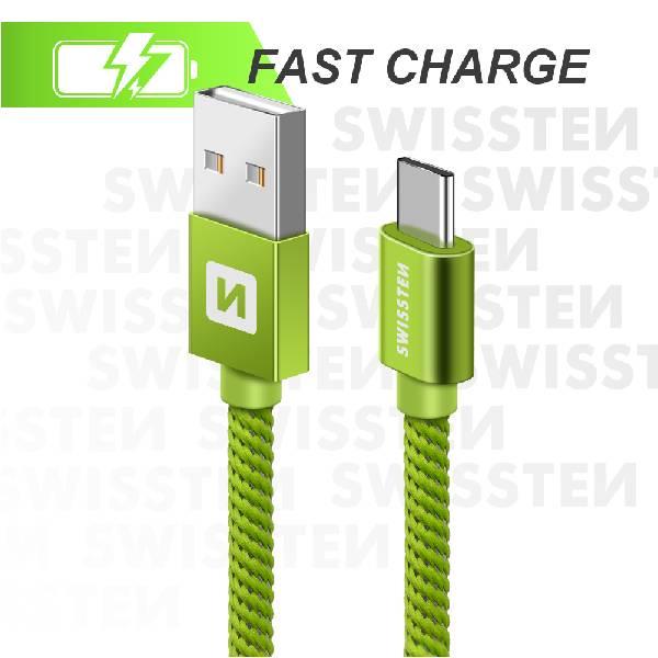 Swissten Καλώδιο Δεδομένων Textile USB. USB-C 1.2m Πράσινο-3