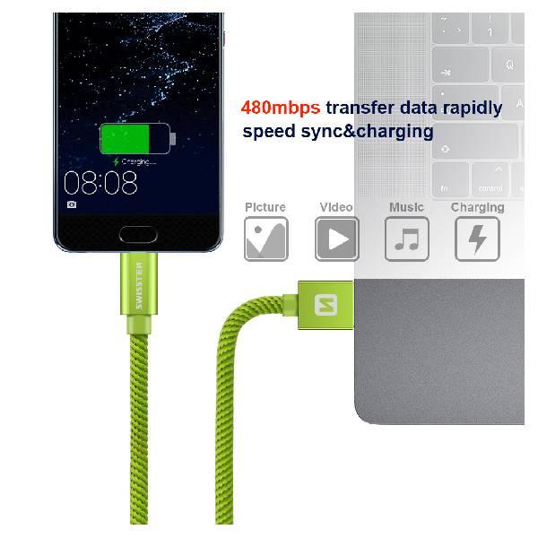 Swissten Καλώδιο Δεδομένων Textile USB. USB-C 1.2m Πράσινο-4