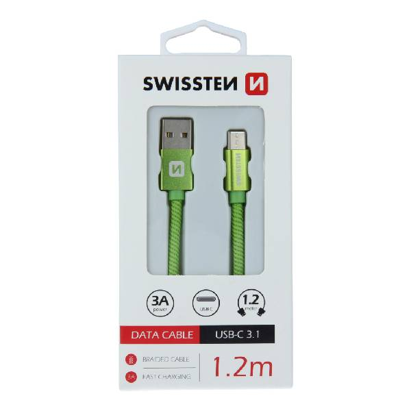 Swissten Καλώδιο Δεδομένων Textile USB. USB-C 1.2m Πράσινο