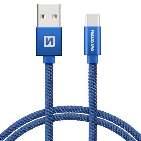 Swissten Καλώδιο Δεδομένων Textile USB. USB-C 2m Μπλέ-1