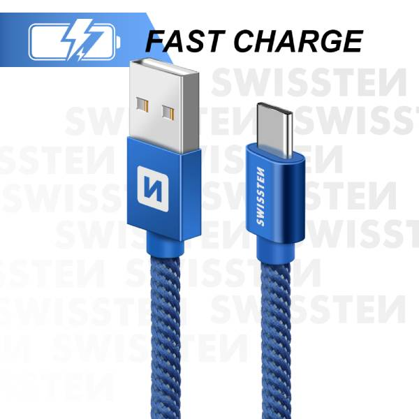 Swissten Καλώδιο Δεδομένων Textile USB. USB-C 2m Μπλέ-2