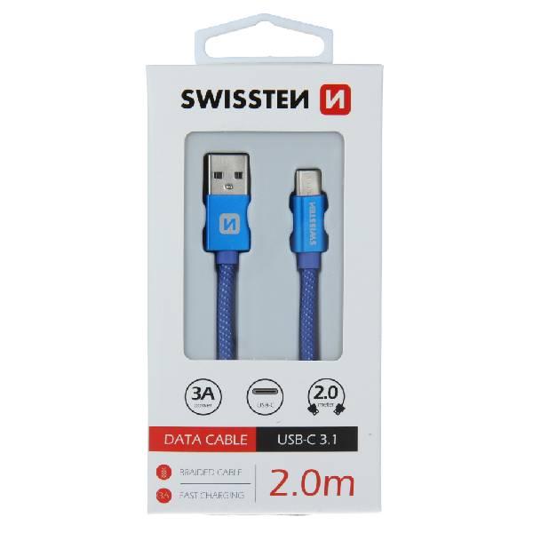 Swissten Καλώδιο Δεδομένων Textile USB. USB-C 2m Μπλέ