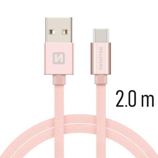 Swissten Καλώδιο Δεδομένων Textile USB.USB-C 2m Ροζ Χρυσό-1