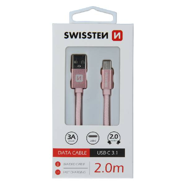 Swissten Καλώδιο Δεδομένων Textile USB.USB-C 2m Ροζ Χρυσό