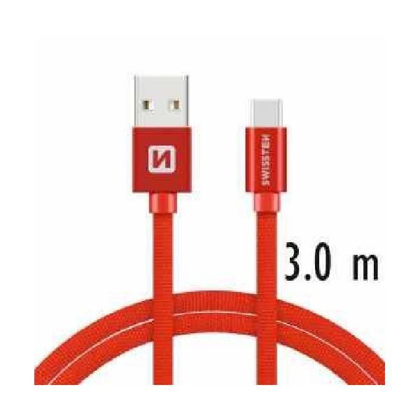 Swissten Καλώδιο Δεδομένων Textile USB.USB-C 3m Κόκκινο-1