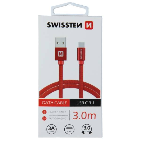 Swissten Καλώδιο Δεδομένων Textile USB.USB-C 3m Κόκκινο